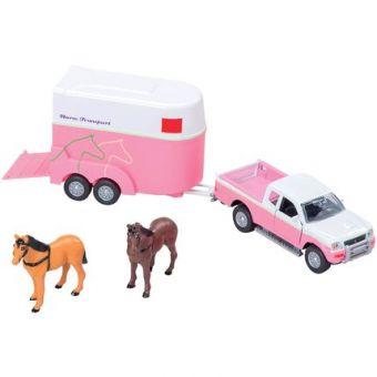 Bil med hestetrailer og 2 heste Kids Globe