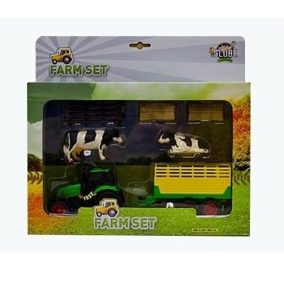 Traktor sæt med vogn og tilbehør Kids Globe